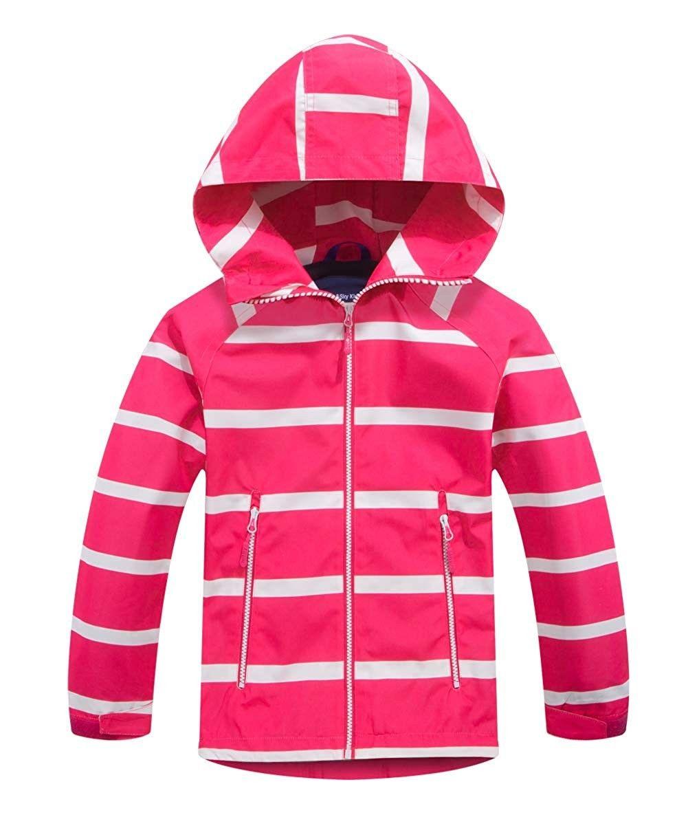 Boys Hooded Full Zip Windproof Fleece Lined Active Jacket Striped Pink Ce18lcya4o5 Kids Rain Jackets Girls Denim Jacket Kids Outdoor Clothes [ 1201 x 1001 Pixel ]