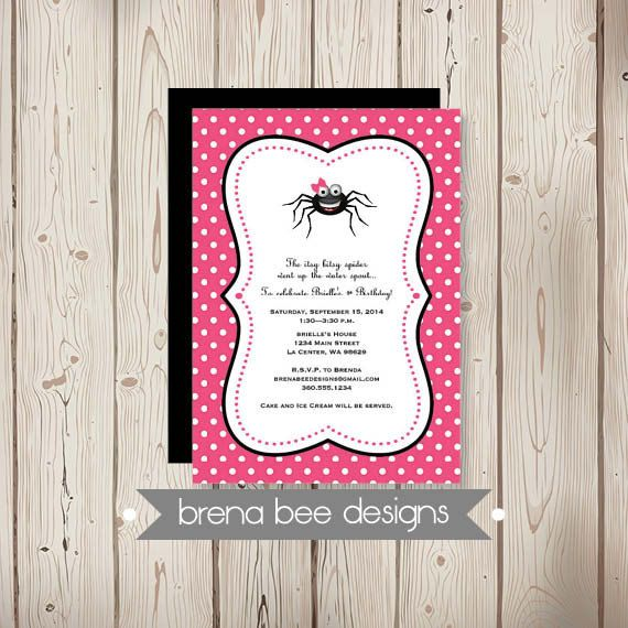 Personalized  Girl Itsy Bitsy Spider  Shower by brenabeedesigns, $14.75