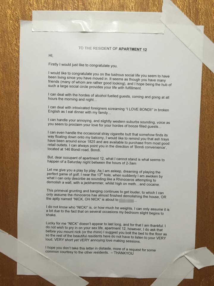 Manu0027s letter of complaint to female neighbour having loud - letter of complaint