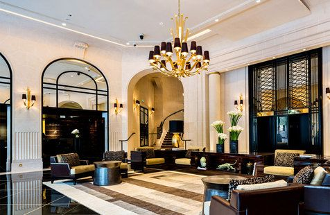 The Art Deco lobby at the recently reopened Prince de Galles, a Luxury Collection Hotel, Paris