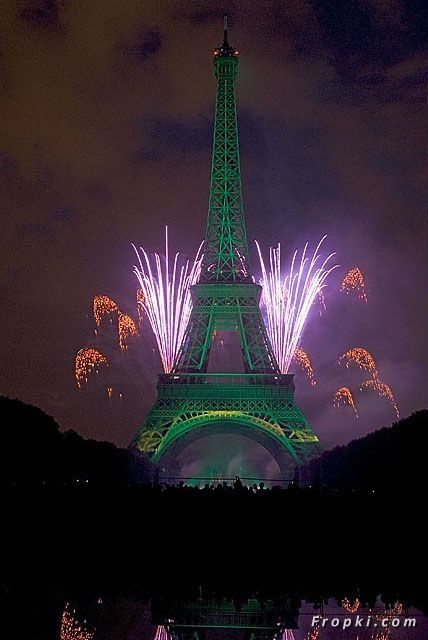 Eiffel Tower at Night with Fireworks | VISUAL TREAT: Fireworks on Eiffel Tower-2  Tattoo?