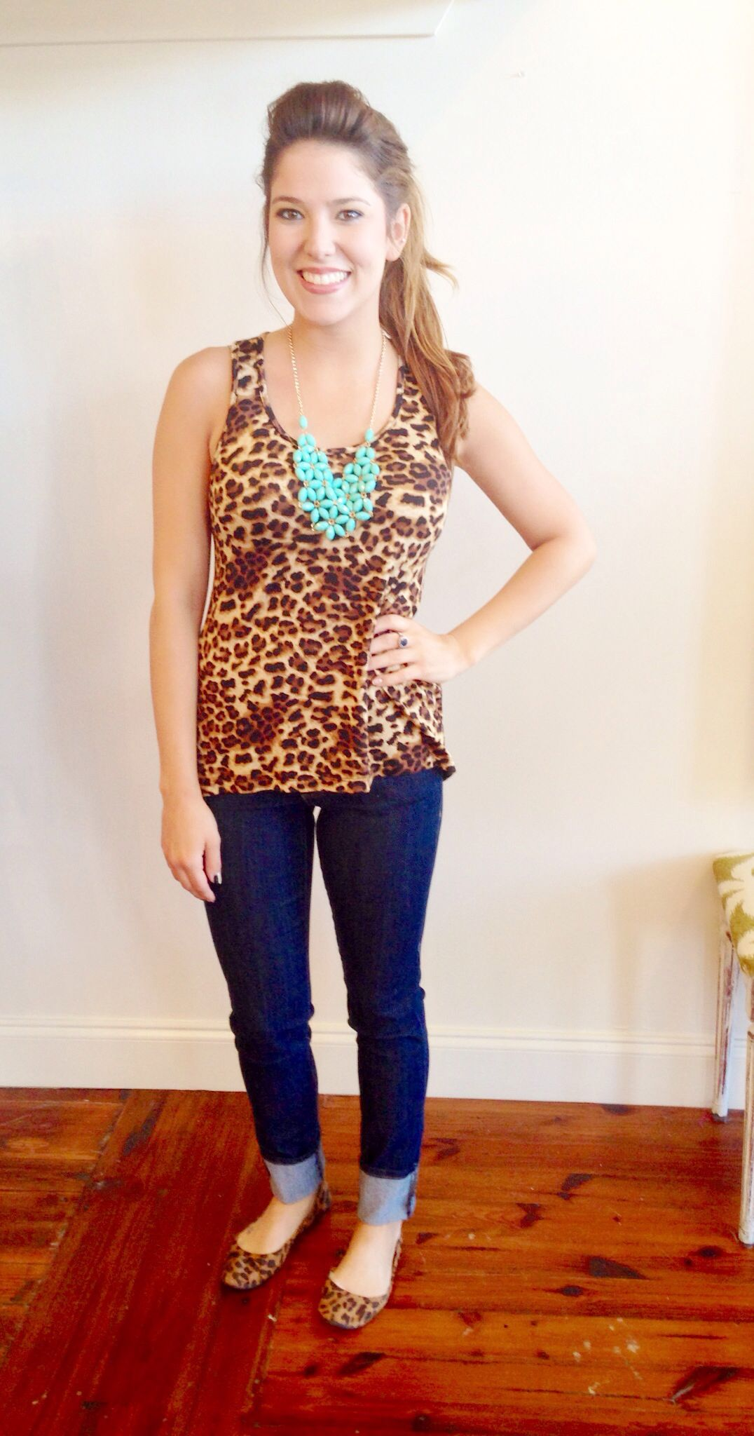 Leopard and Turquoise. LOVE!  Shop Coveted Closet! Instagram: Coveted_Closet