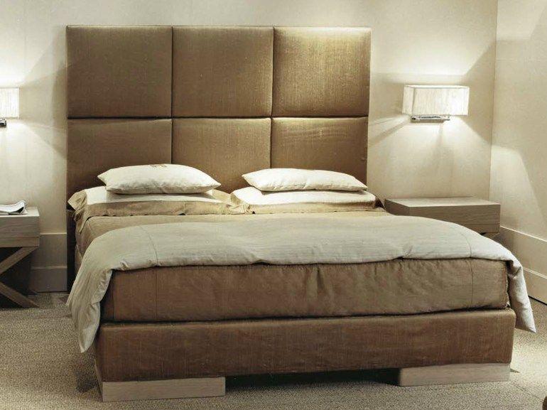 Cama doble de tela con cabecera alta colecci n - Telas para forrar cabecero cama ...