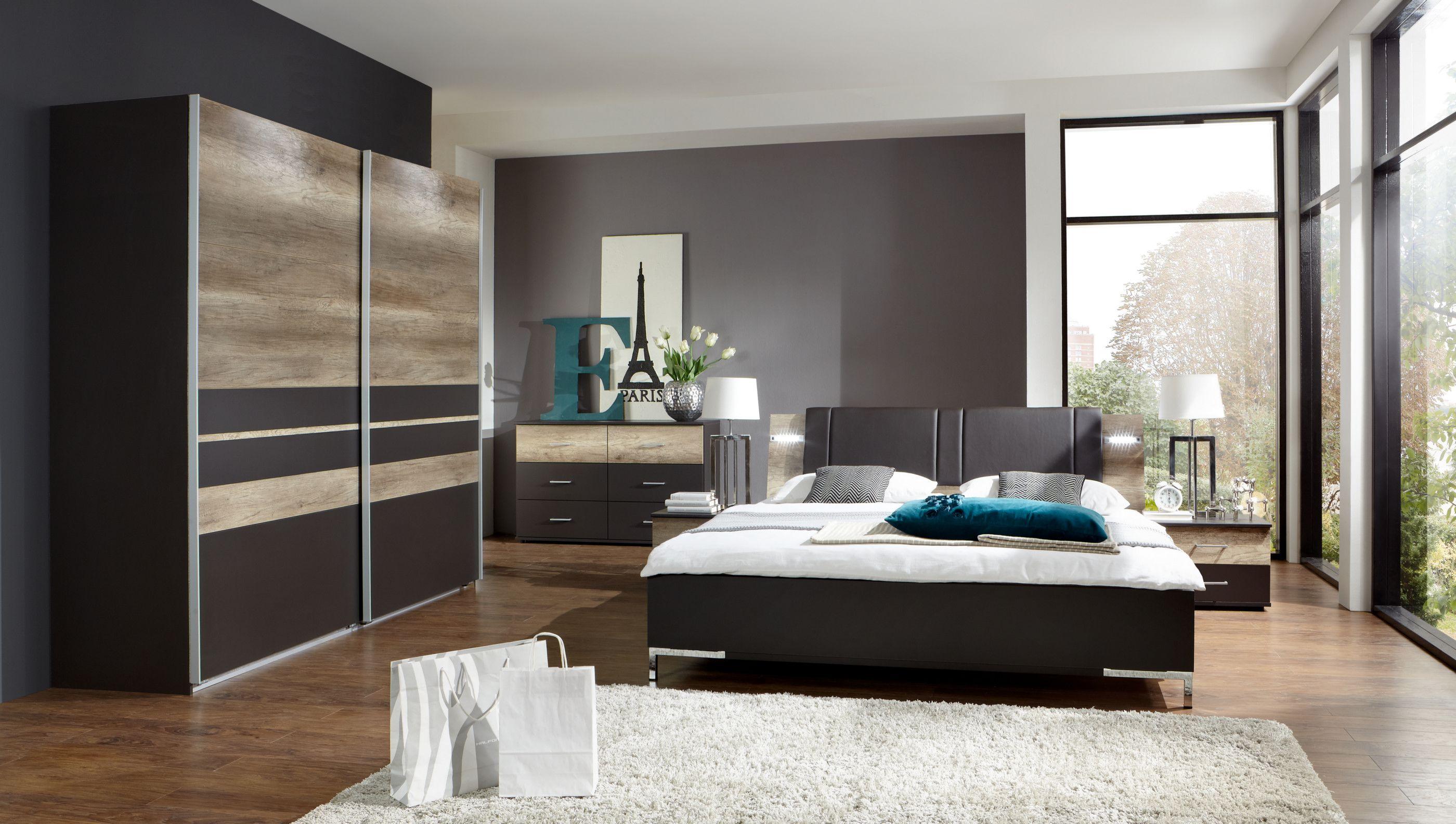 Schlafzimmer Mit Bett 180 X 200 Cm Lavafarbig/ Wildeiche Woody 132 01367 Braun  Modern