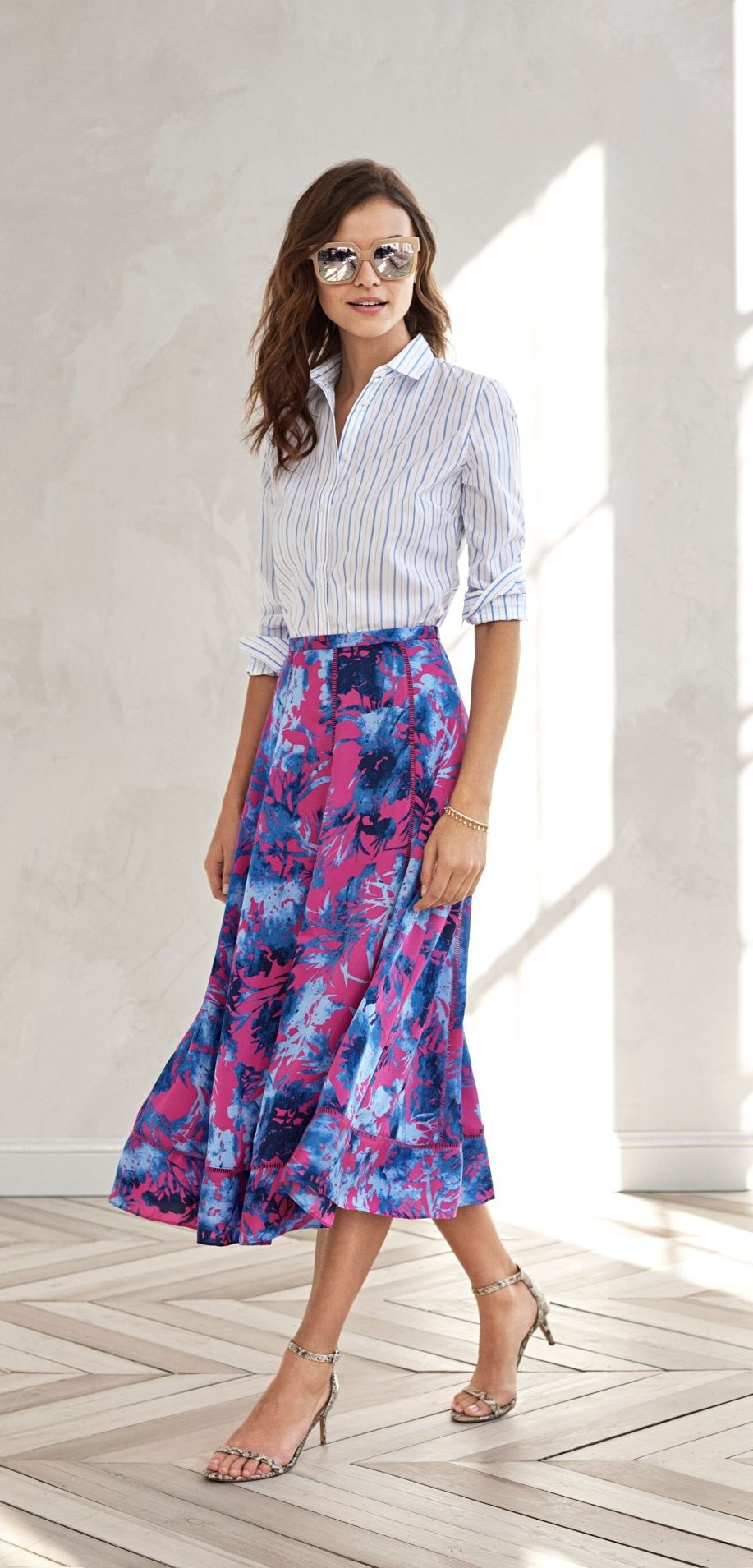 569ff85be8d96 ... to your summer style with our bold hot pink and blue floral print midi  length skirt. Pair this ruched panel skirt with a striped button down shirt  for ...