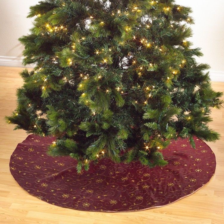 Treeskirt Contemporary Christmas Tree Skirt Red Embroidered Sequined 54 Inch Holiday New