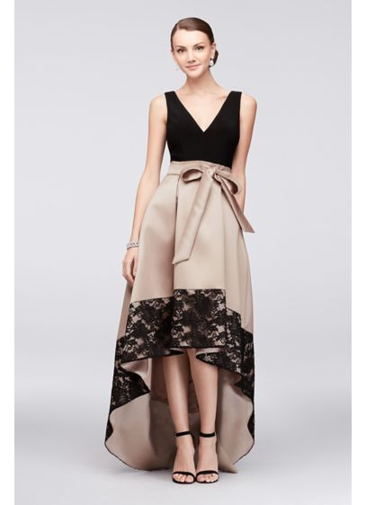 Mikado Ball Gown With Lace Edge High Low Skirt Xs10042 Clothes And