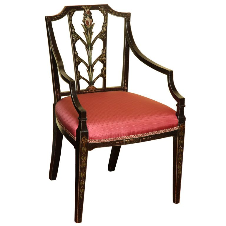 Sheraton Period Painted Open Armchair English C 1785 1795