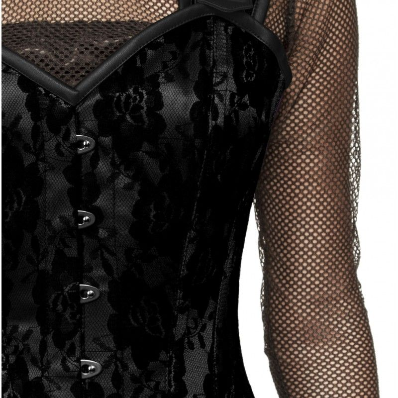 Peggy Corset Black satin and black lace steel boned corset  A black over-bust corset that will entice you with its magnificent looks and have you fall for its intriguing features. Made with the finest of components in a smooth floral pattern; it carries the waist-reducing feature for the hottest fit ever!