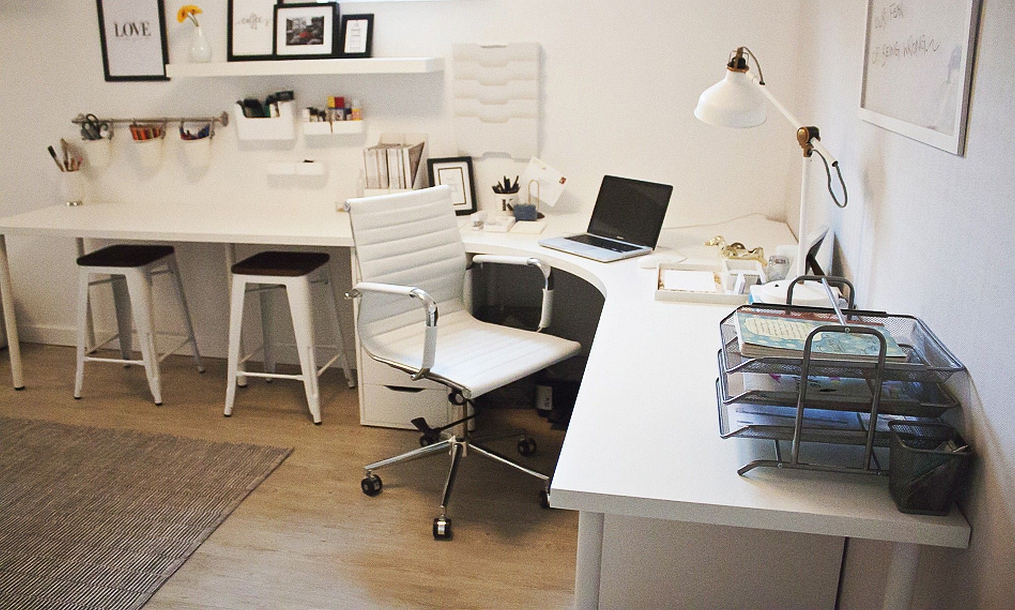 corner desk home office ideas Home Office Corner Desk Setup IKEA LINNMON ADILS Combination   Big girl apartment   Pinterest