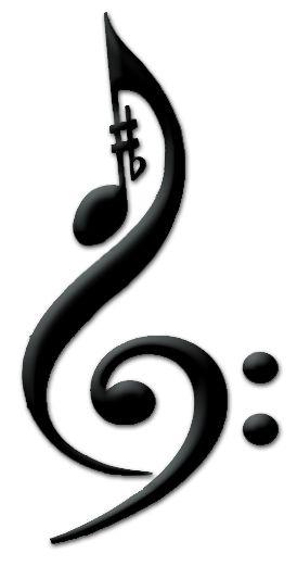 Music Tattoo Treble Clef Bass Clef Sharp Flat Eighth Note