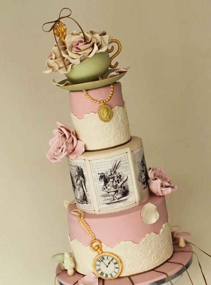 Chic Alice In Wonderland Wedding Alice In Wonderland Cakes