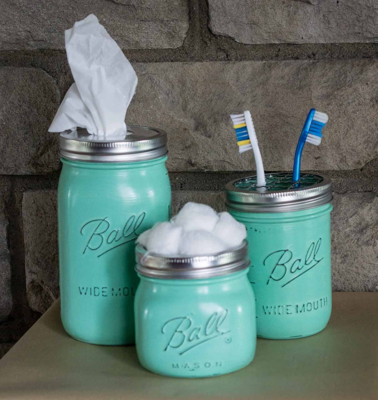 Mason Jar Vanity Set, Retro Green Makeup Jars, 3 Piece Bathroom Vanity Set,