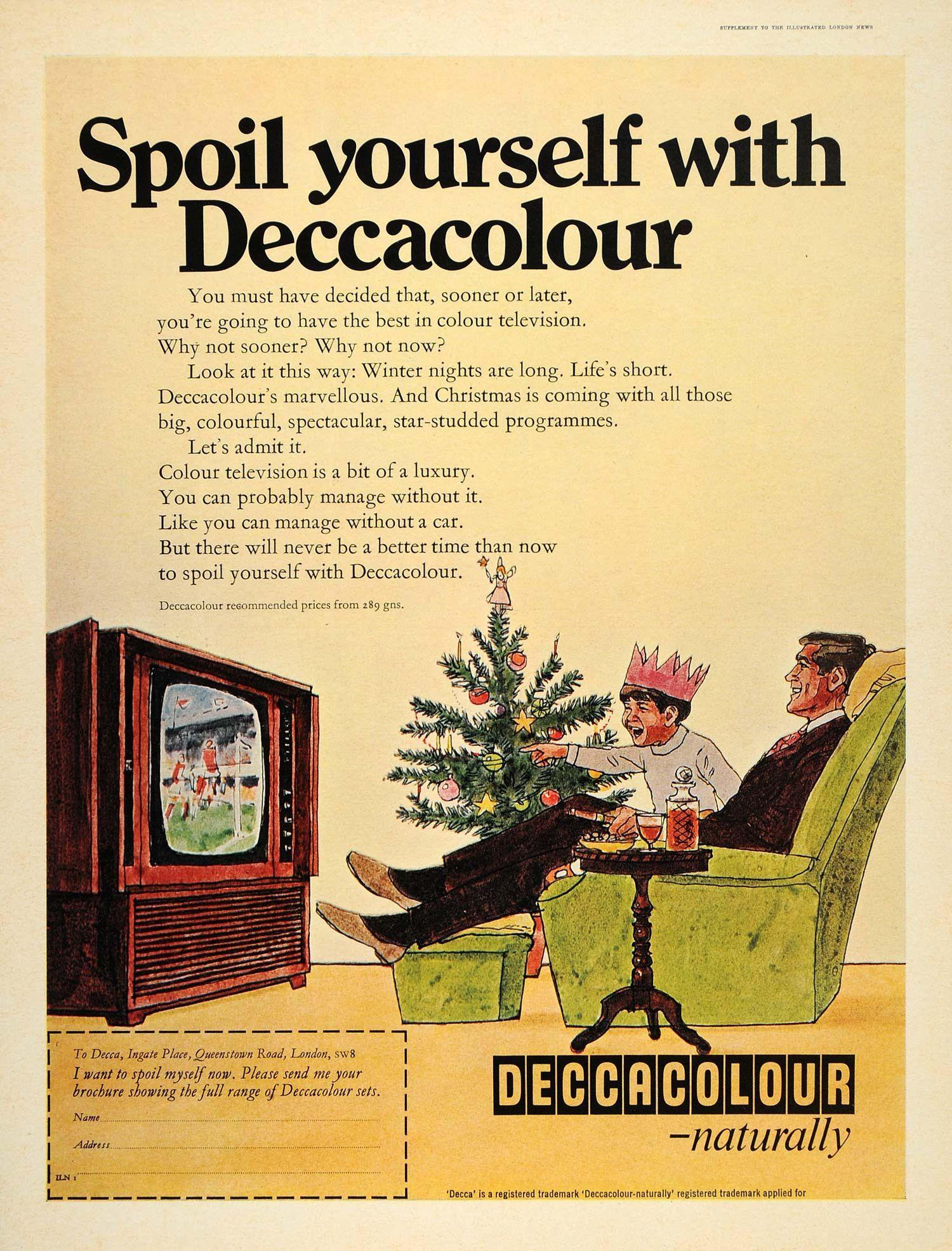 1968 Ad Deccacolour Decca Color TV Television Christmas