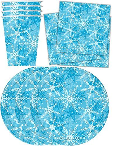 Snowflake Winter Wonderland Birthday Party Supplies Set Plates