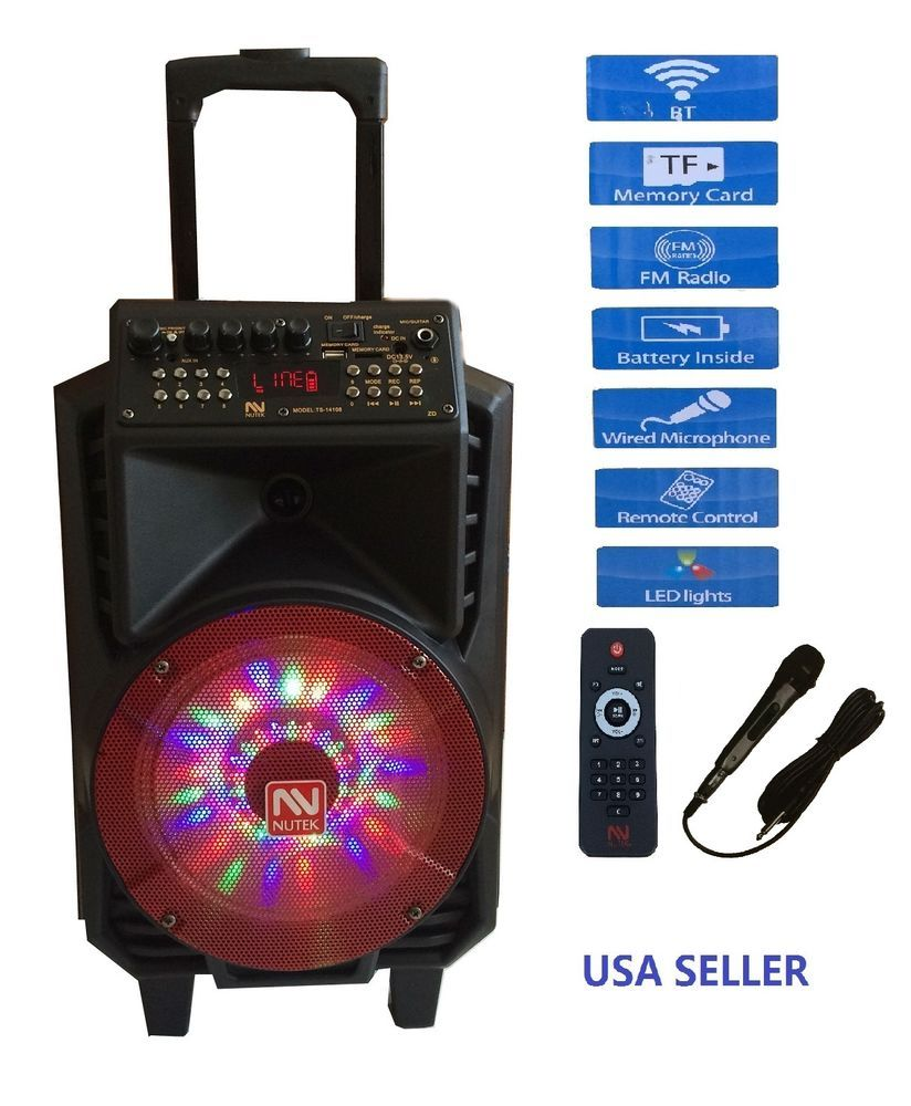 "Bluetooth Bass NUTEK SEISMIC AUDIO 8"" POWERED PA DJ SPEAKER Audio System MIC USB #NUTEK"
