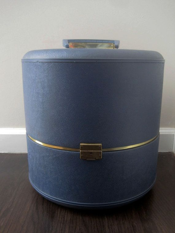 Vintage 1950s Blue Hat Box Travel Container