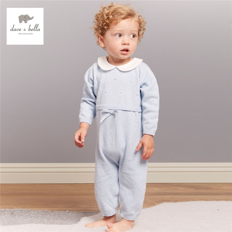 34.11$  Watch more here  - DB4149 dave bella autumn baby boys girls textile  solid cotton romper infant pink blue peter pan collar rompers toddle 1 Piece