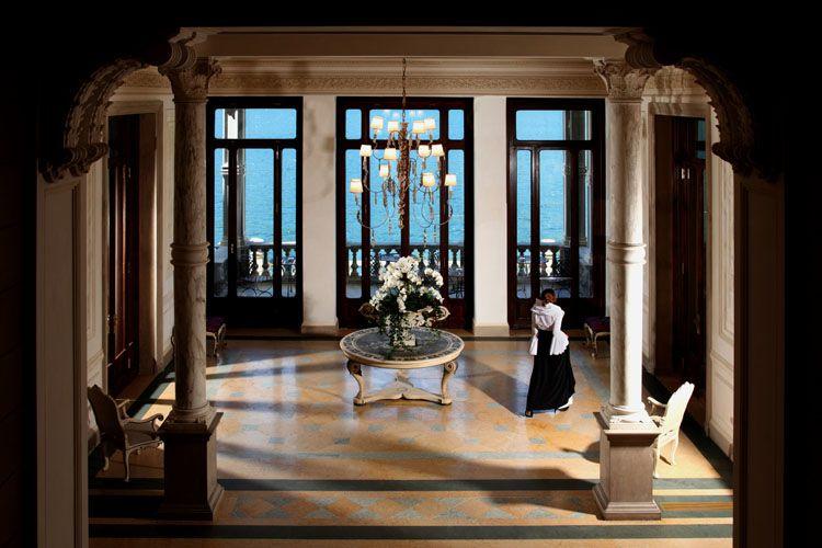 A lobby overlooking Lake Como