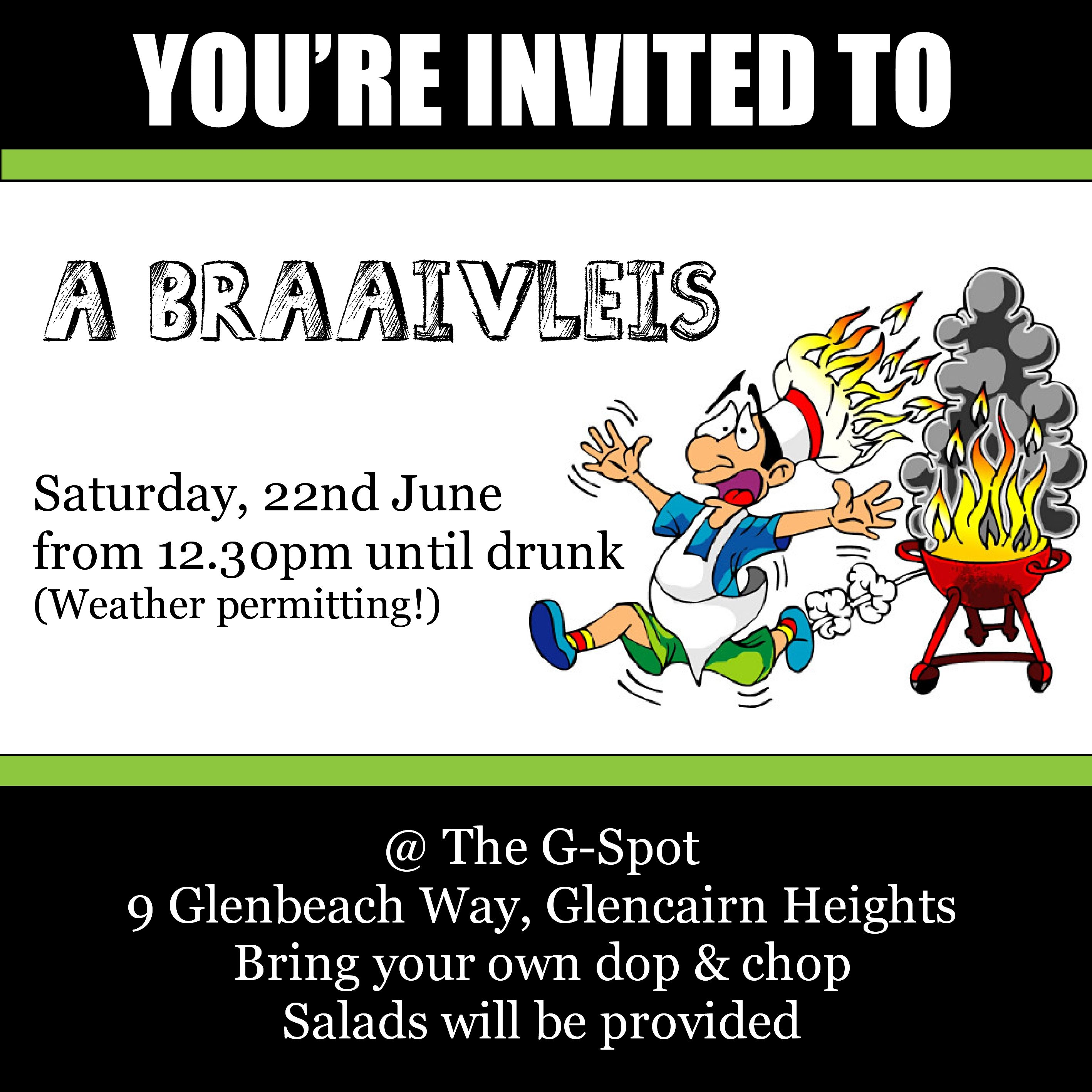 a braaivleis sunday 20 may 2018 from 12pm untill high tide bring