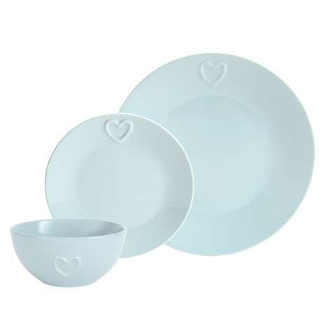 Featuring Embossed Love Heart Detail In A Duck Egg Finish, This 12 Piece  Chip Resistant Stoneware Dining Set, Including 4 Dinner Plates, Side Plates  And ...