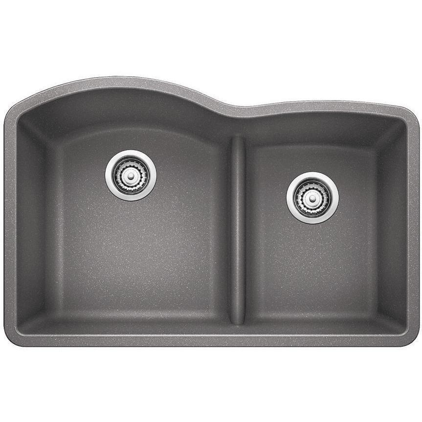 Blanco Diamond 30 X 20 Double Bowl Silgranit Ii Undermount Sink Metallic Gray 441592 With Images Double Bowl Kitchen Sink Silgranit Sink Kitchen Sink Remodel