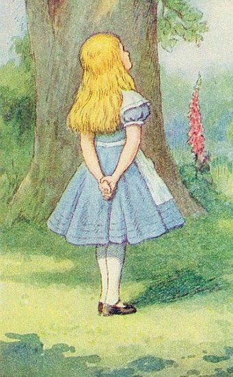 Bild:  John Tenniel - Alice and the Cheshire Cat, illustration from ''Alice in Wonderland'' Lewis Carroll (1832-9)  (detai