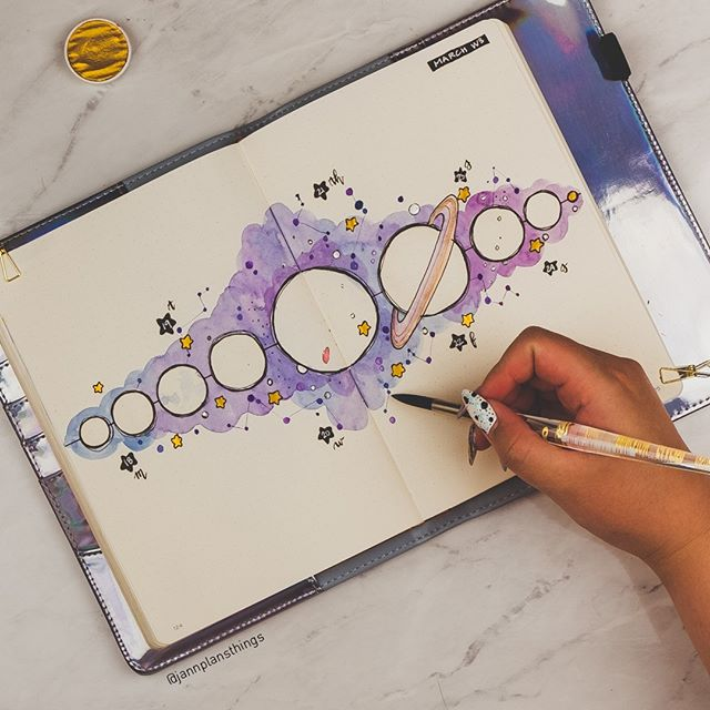 "Jann on Instagram: ""My negative-space solar system spread for this week! The PWM video is up on my Youtube Channel :). I love how this one looks, I reckon you…"""