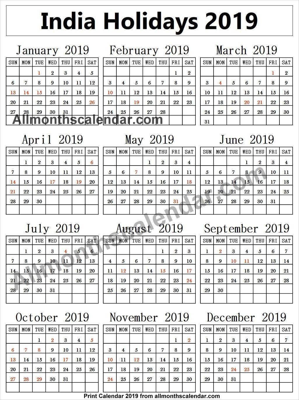 India Holiday List 2019 Calendar Holiday List India Holidays