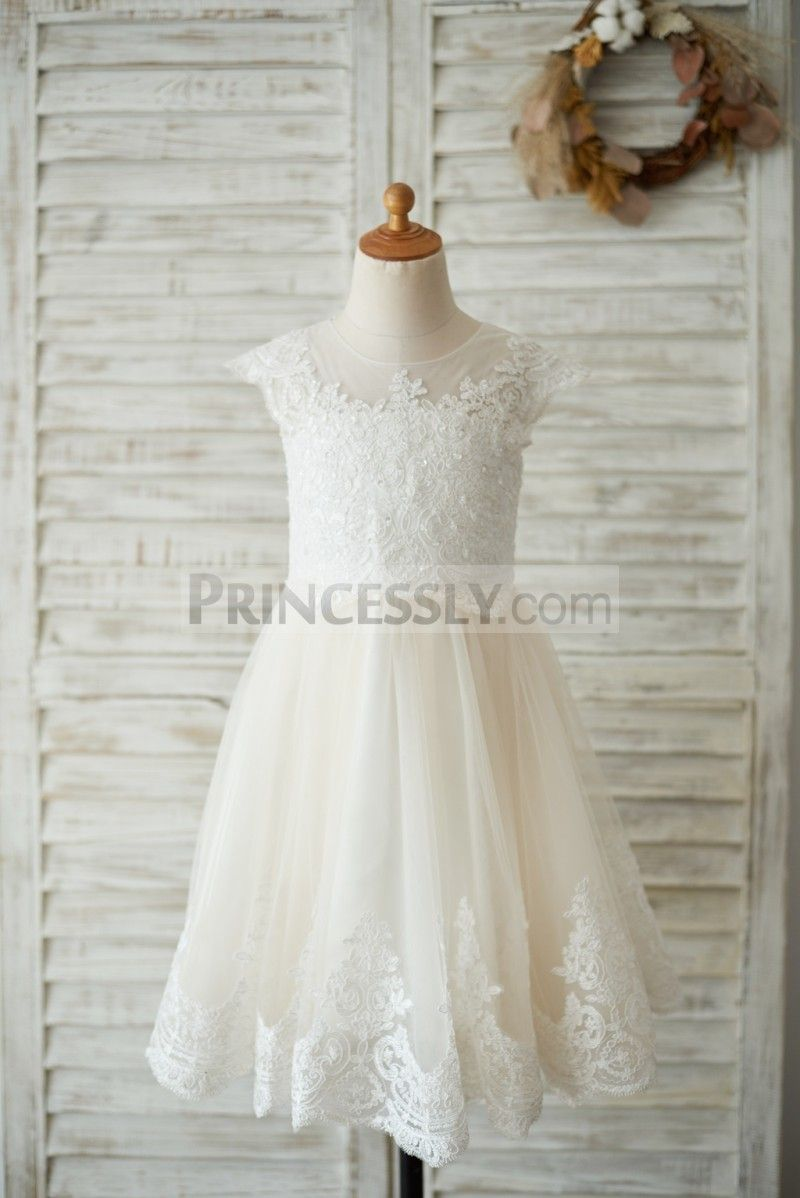 Ivory Lace Champagne tulle Cap Sleeves Wedding Flower Girl Dress ...
