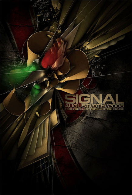 """Signal"" | Designer: Steve Goodin aka Demen1 | Club Flyer | 3D Software and Photoshop | Image 1 of 2"
