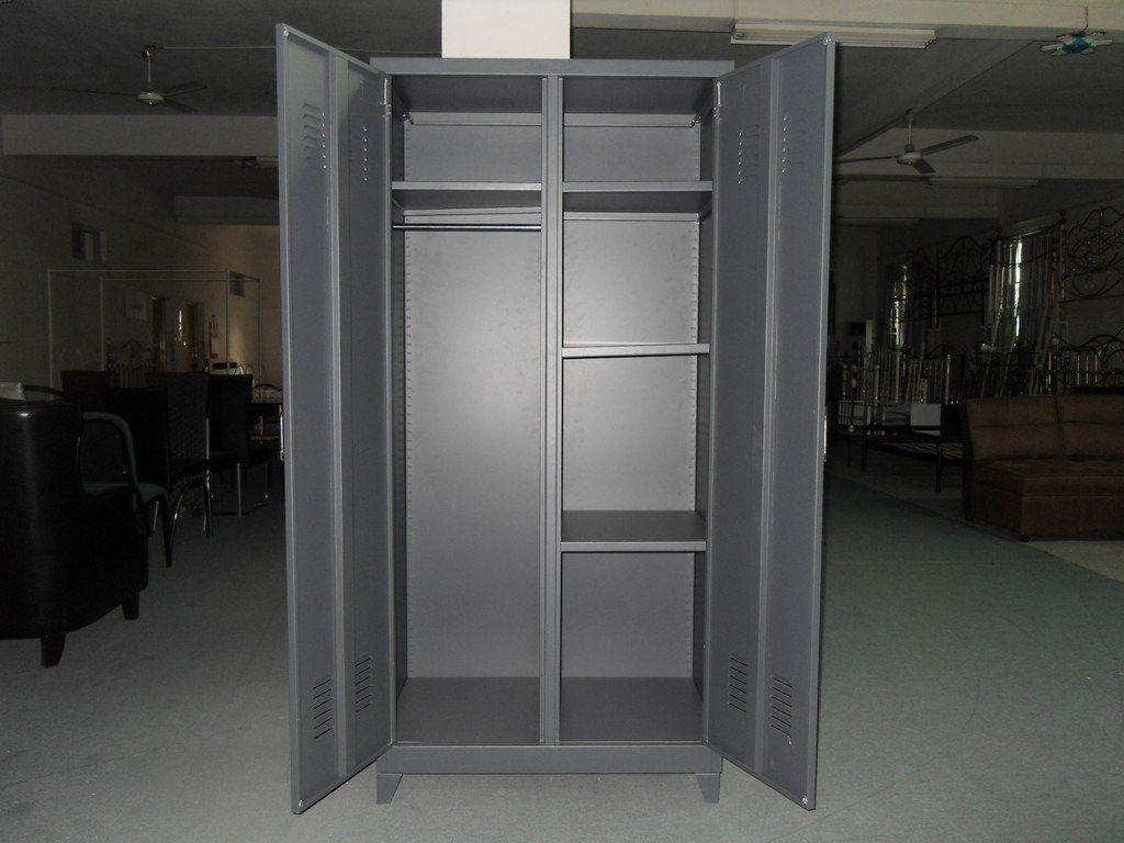 Unassembled Desgin Double Swing Doors Household Steel Wardrobes Metal  Armoire