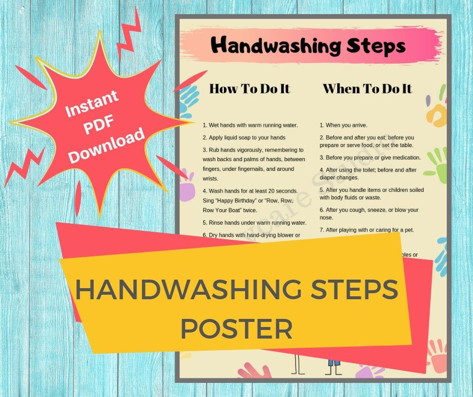 Handwashing Steps Daycare Printable Hand Washing Guides For Etsy Daily Schedule Preschool Hand Washing Poster Childcare Center