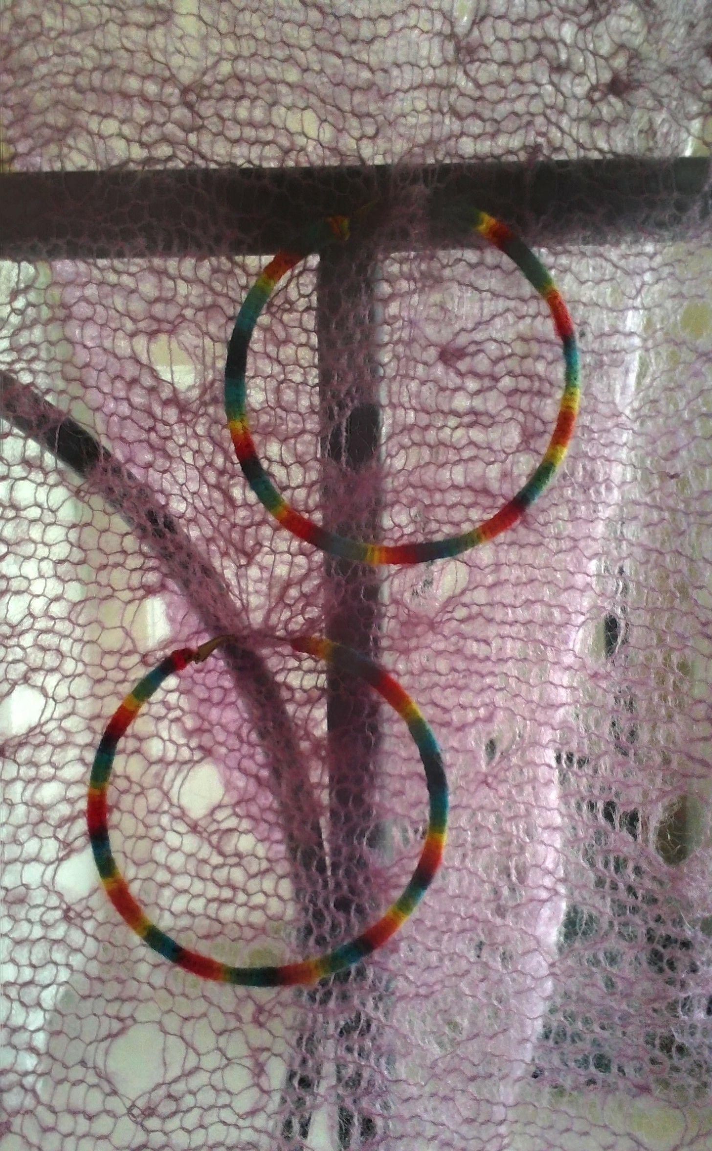 Handmade hoops with rainbow yarn