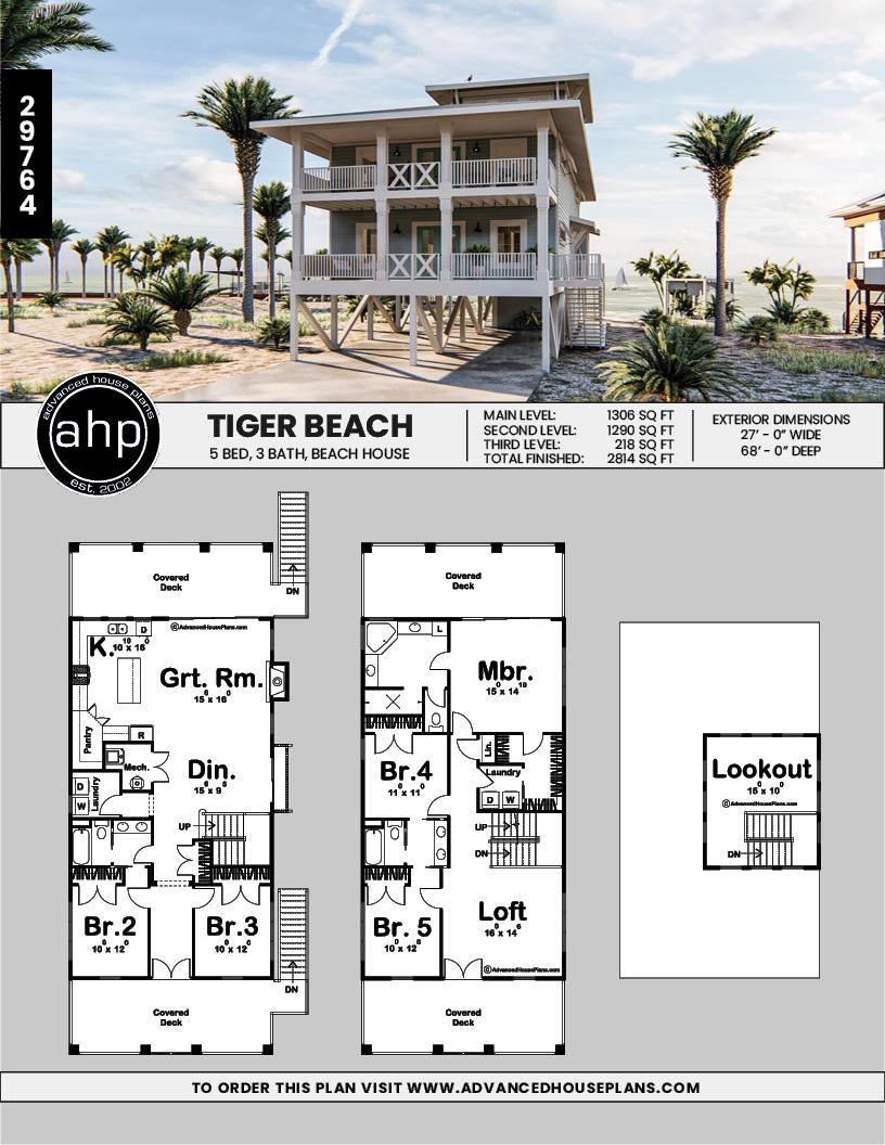 3 Story Coastal Style House Plan Tiger Beach Beach House Floor Plans Beach House Exterior Beach House Plans