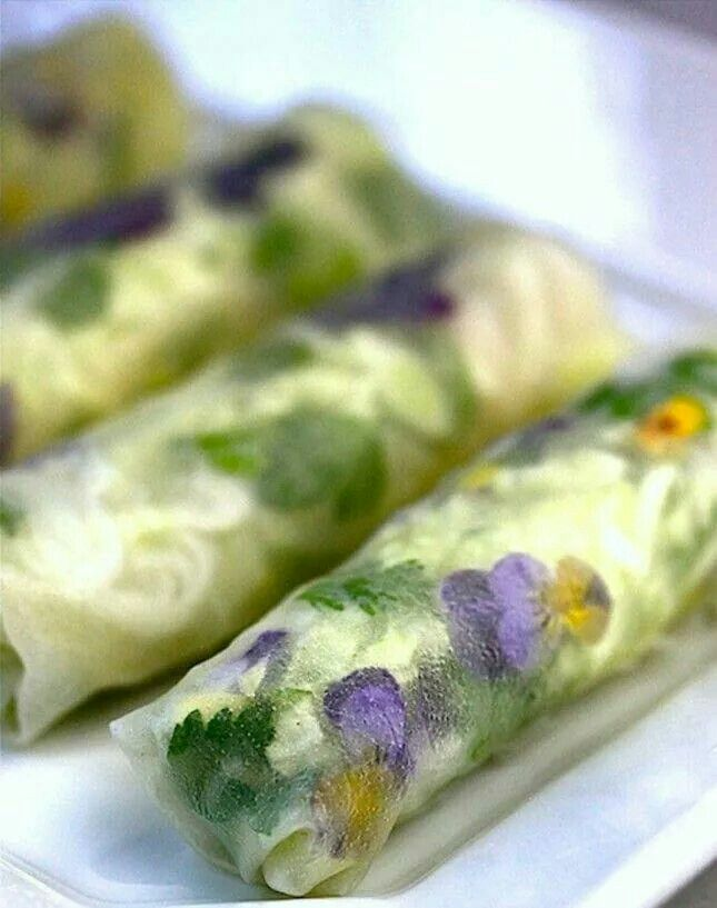 Very cool spring roll with flowers great for bridal showers spring once upon a plate the recipes garden of eden spring rolls with creamy peanut ginger dipping sauce forumfinder Gallery