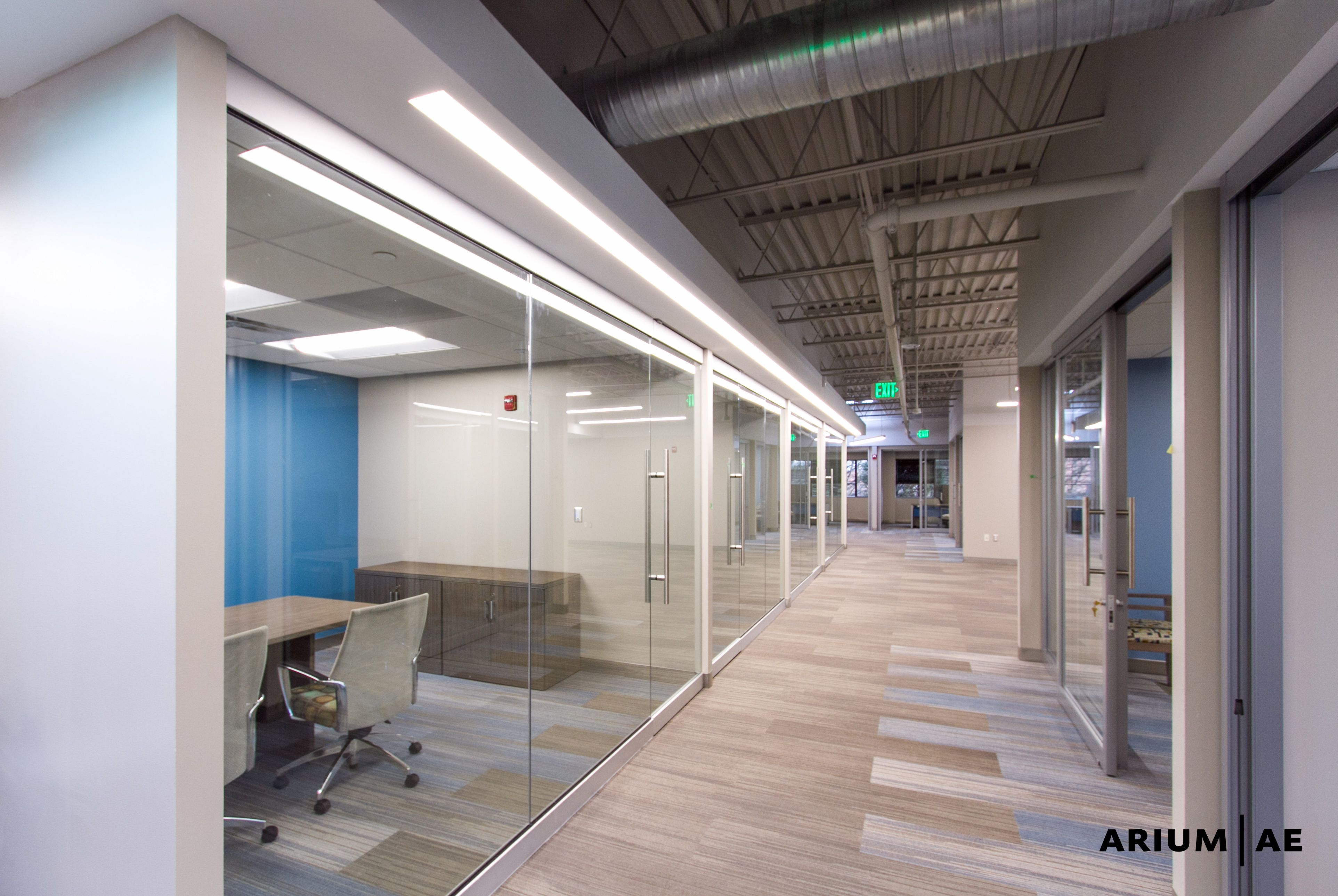 Office Space Corridor Exposed Ceiling Design Linear