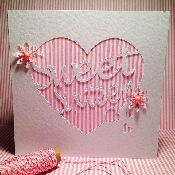 16th Birthday Card Paper Cut Sweet Sixteen Candy Stripe