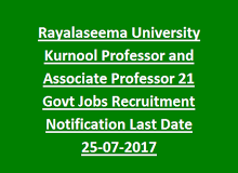 Rayalaseema University Kurnool Professor And Associate Professor