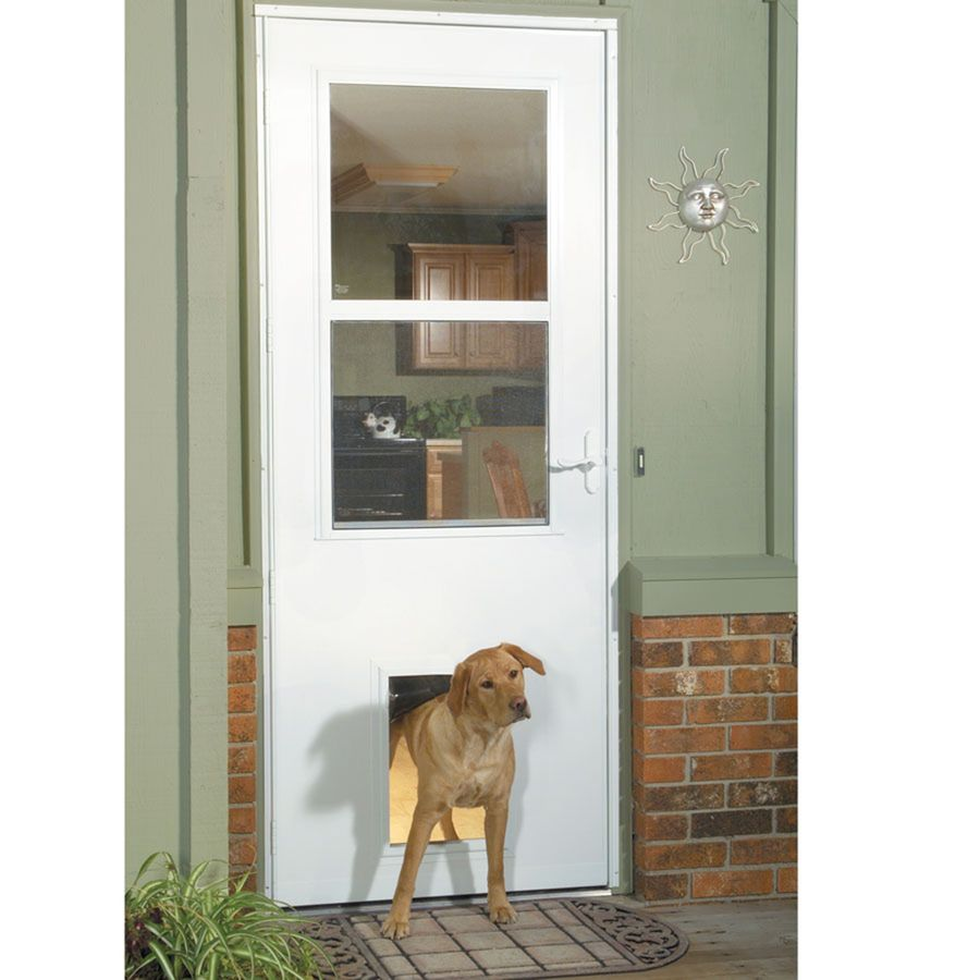 Shop LARSON White High-View Tempered Glass Pet Door Storm Door ...