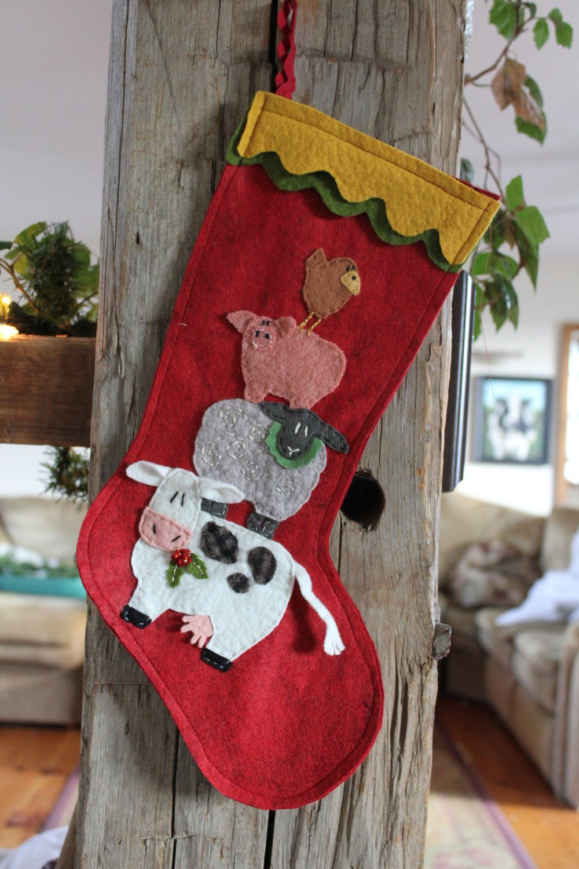 Chicken christmas ornaments - Ewe La Christmas Cow Sheep Pig Chicken Stocking Ornament