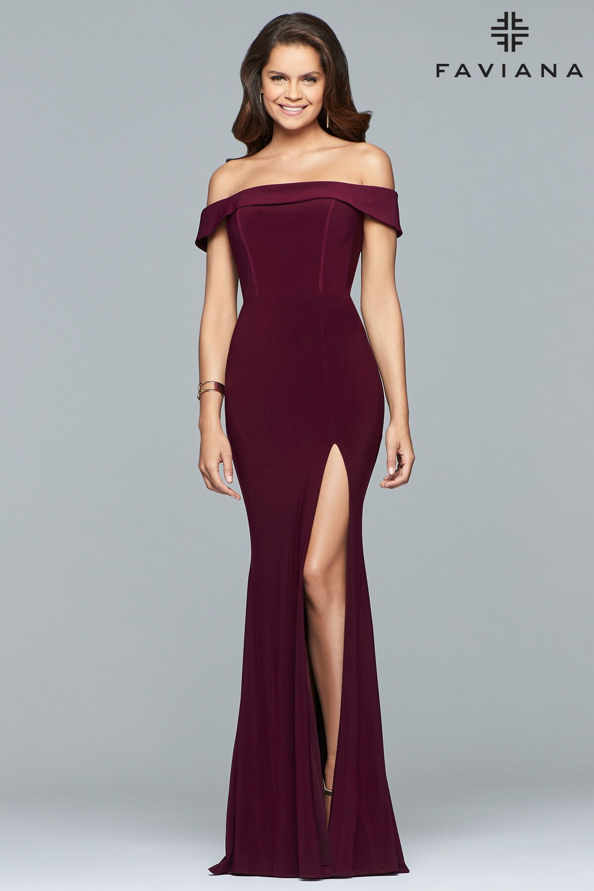 a117c36ca5d8 Be a trend setter and choose to wear burgundy prom dresses. FAVIANA S10015  Long jersey