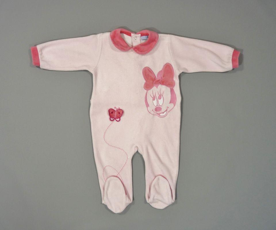 Dors-bien pyjama grenouillère velours rose Disney Minnie 12 mois filles