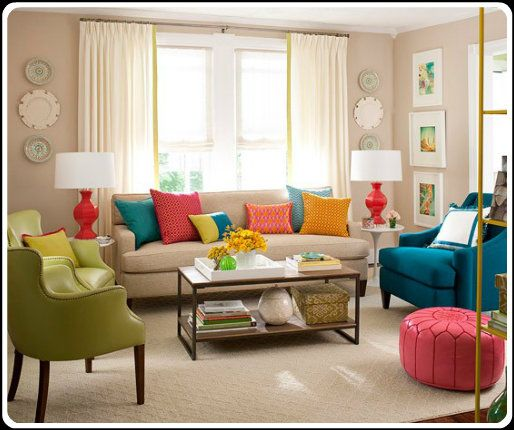 Color psychology decorating with green double compl scheme - Blue and orange color scheme for living room ...