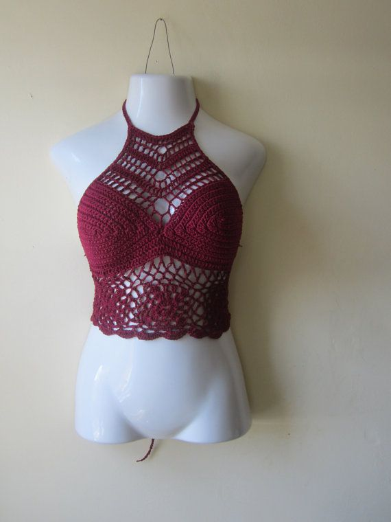 Crochet halter top high neck halter top by Elegantcrochets on Etsy, $55.00
