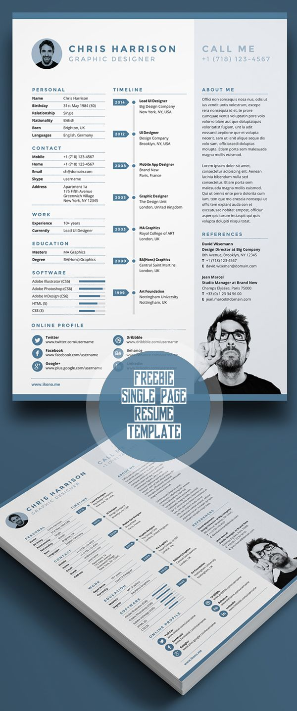 Free Single Page Resume Template Psd  Resume  Portfolio