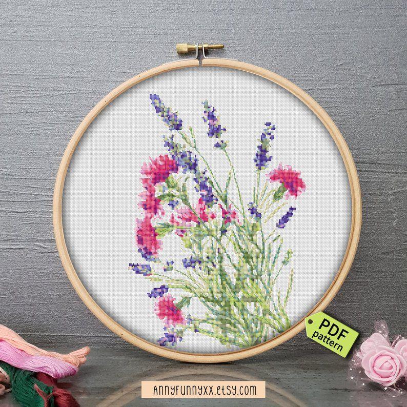Wild Flowers Bouquets Cross Stitch Pattern Pdf Lavender Etsy Cross Stitch Patterns Flowers Floral Cross Stitch Stitch Patterns