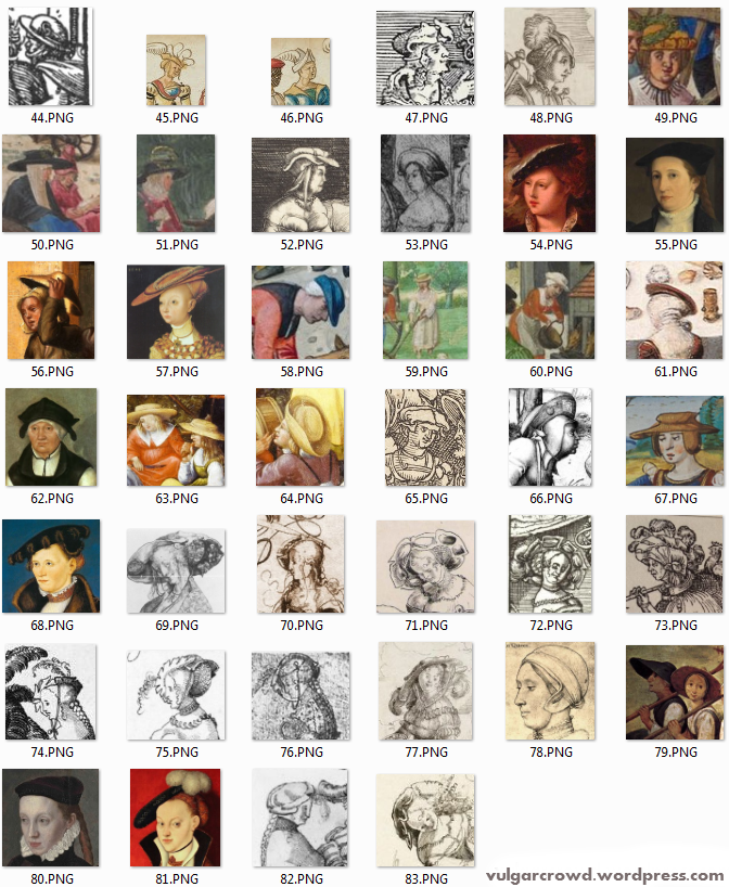 Part two: Example of different types of female hats, during 16th century.