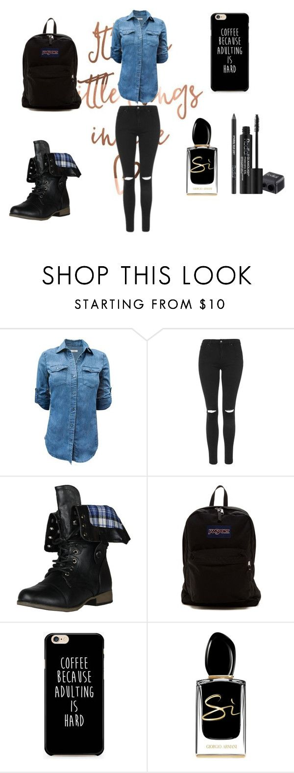 """Sin título #207"" by valehh30 ❤ liked on Polyvore featuring Topshop, Forever Link, JanSport, Giorgio Armani and Rodial"