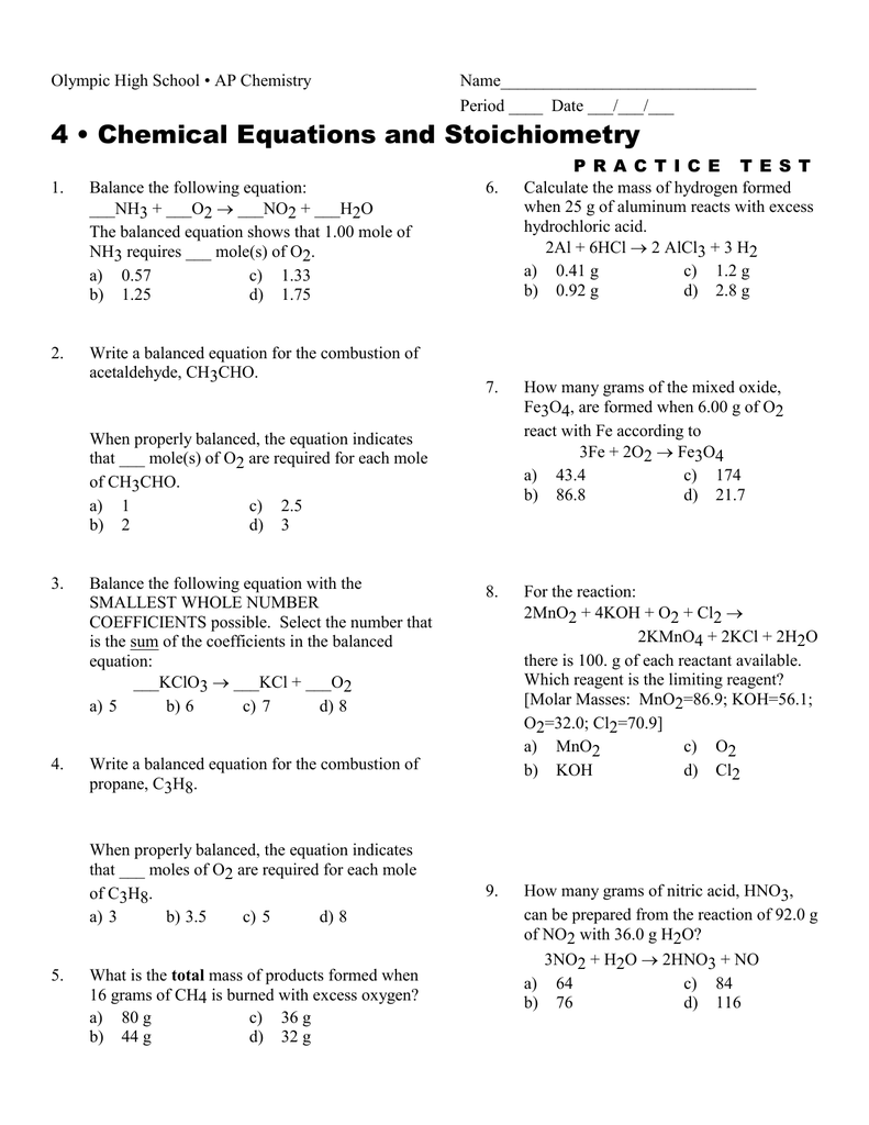 Chemical Equations And Stoichiometry Worksheets Answers in